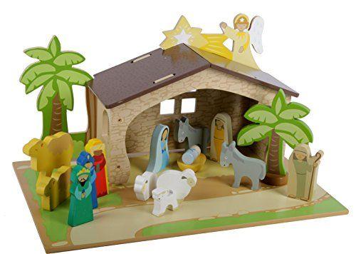 Haba Weihnachtskrippe.Mentari Krippe Für Kinder Weihnachtskrippe Aus Holz Spielset