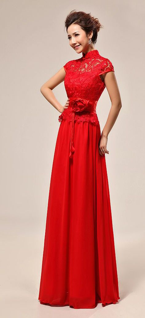 Mandarin collar Chinese red lace long bridal dress gown | Modern ...
