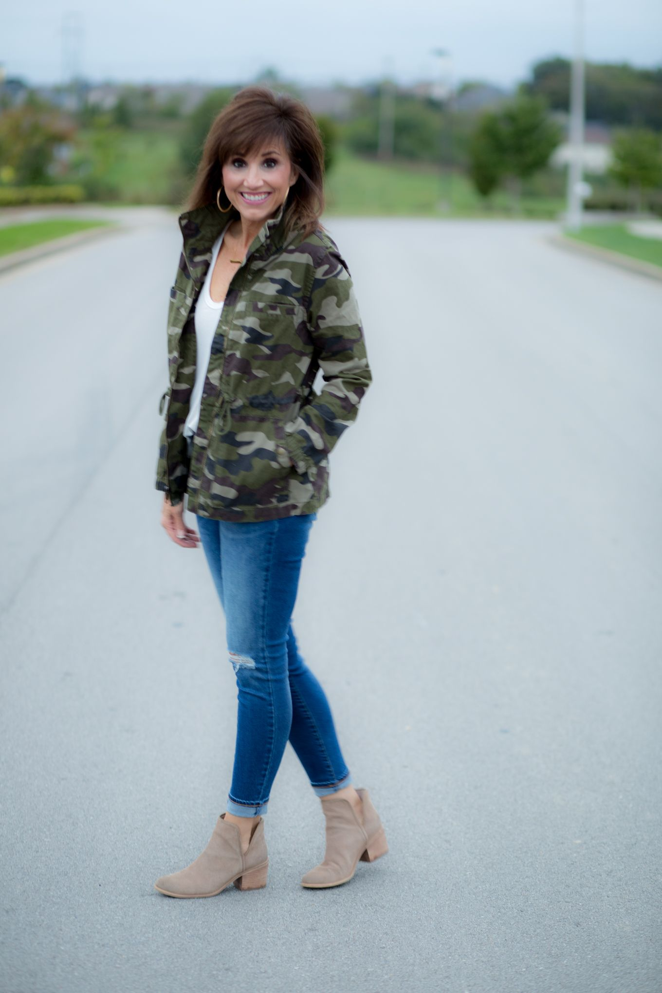 88ecb310641f8 Camo Jacket + Distressed Jeans + Booties | FASHION FOR WOMEN OVER 40 ...