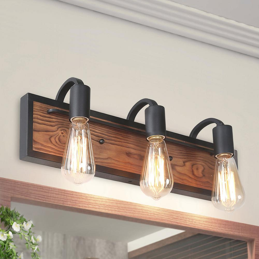 Lnc 3 Light Black Rustic Vanity Light A03440 The Home Depot Rustic Bathroom Lighting Rustic Vanity Lights Rustic Light Fixtures