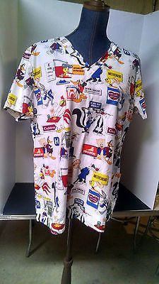 e96a243f4f2 Scrub Shirt Looney Toons Bugs Tweety Sylvester Porky Daffy Pepe Medical  Themed