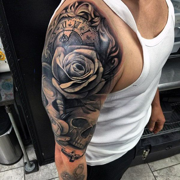 Men Chest And Upper Sleeve With Nice Flowers Tattoo: Top 103 Rosary Tattoo Ideas [2020 Inspiration Guide
