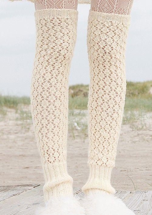 Lochmuster-Beinstulpen in Wollweiß, stricken mit Rebecca - mein ...