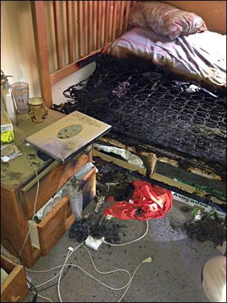 don't leave unattended electronics on combustible surfaces