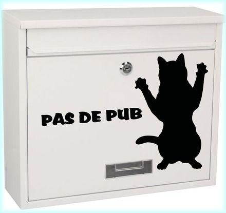 stickers chat noir pas de pub dimension hauteur du chat 20 cm idée original pour ne plus avoir de pub dans votre boite aux lettres exite en jaune , blanc ,vert , rouge , bleu - 12579419
