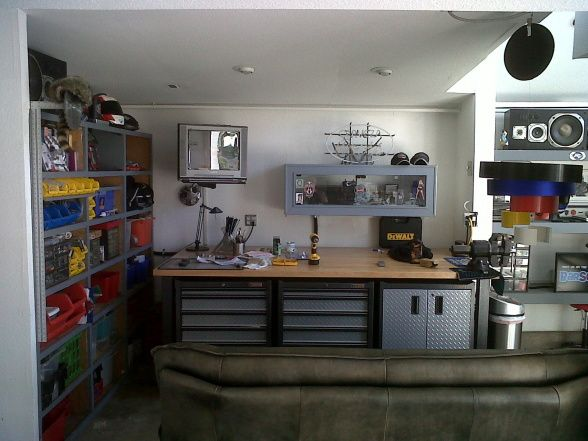Mechanic Man Cave Ideas : Garage man cave working shop hang out work on bikes sports