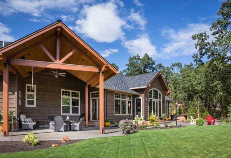 luxury ranch house plans brown exterior gable roof porch double ...