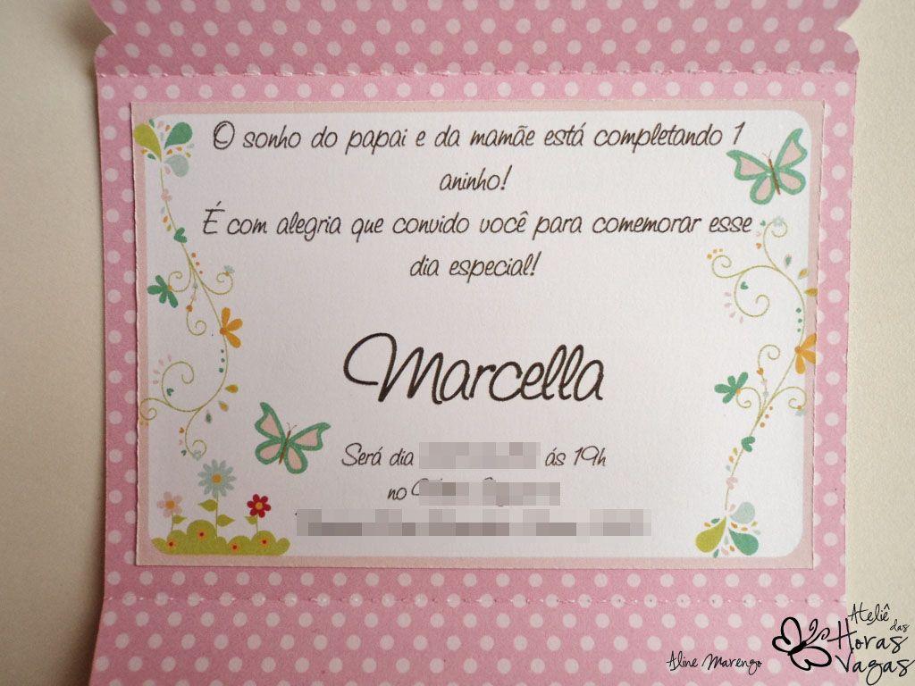 Frases Para Convite De Aniversario De 1 Ano Jardim Encantado