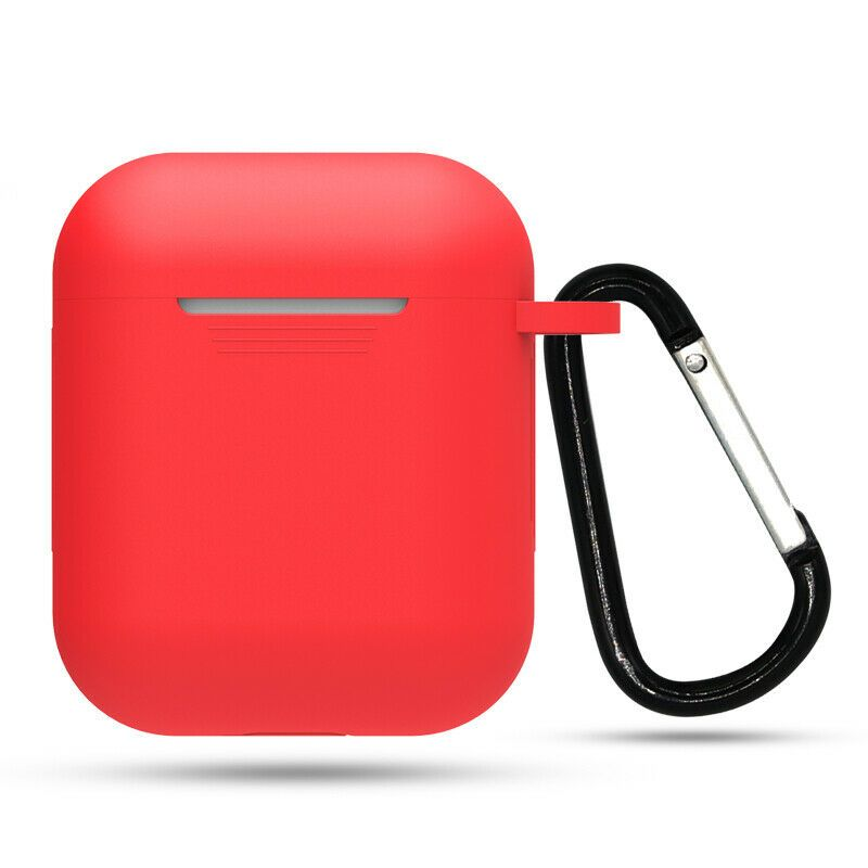 Apple Airpods Silicone Case Cover Red With Keychain For Airpod Charging Case Ebay Earphone Case Airpod Case Silicon Case