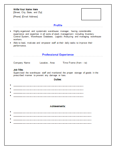 Warehouse Manager Resume 1 | wordstemplates | Pinterest | Warehouse ...