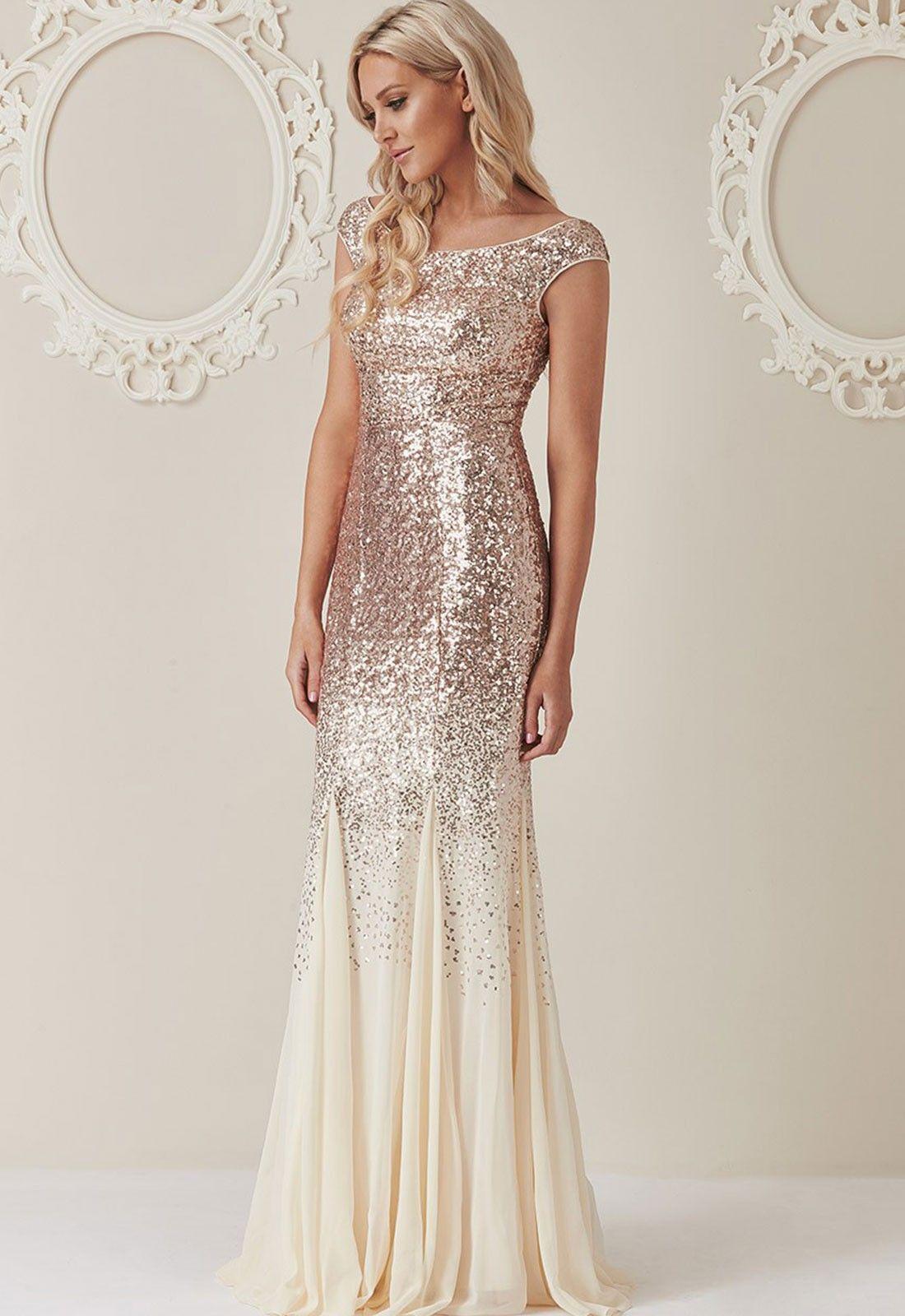 Stephanie pratt sequin and chiffon maxi dress in champagne full