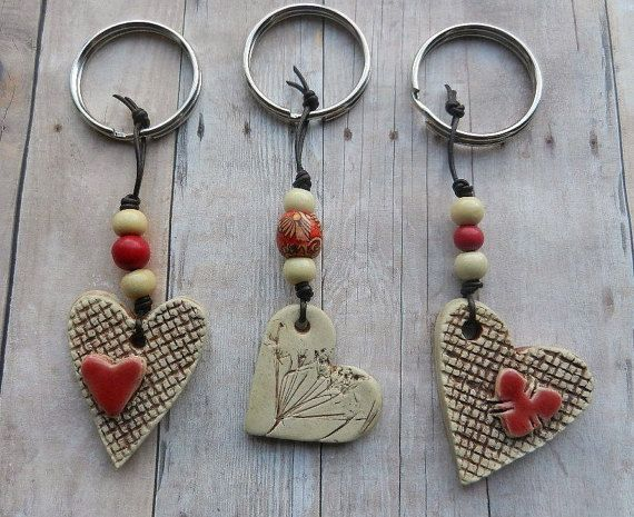 Ceramic heart keychain clay heart pottery heart by - Fimo muttertagsgeschenk ...