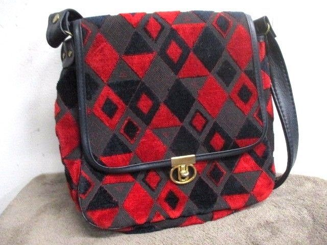 320ae262345b VINTAGE 1980S GEOMETRIC ABSTRACT CHENILLE   LEATHER HANDBAG 10 X 10 ...