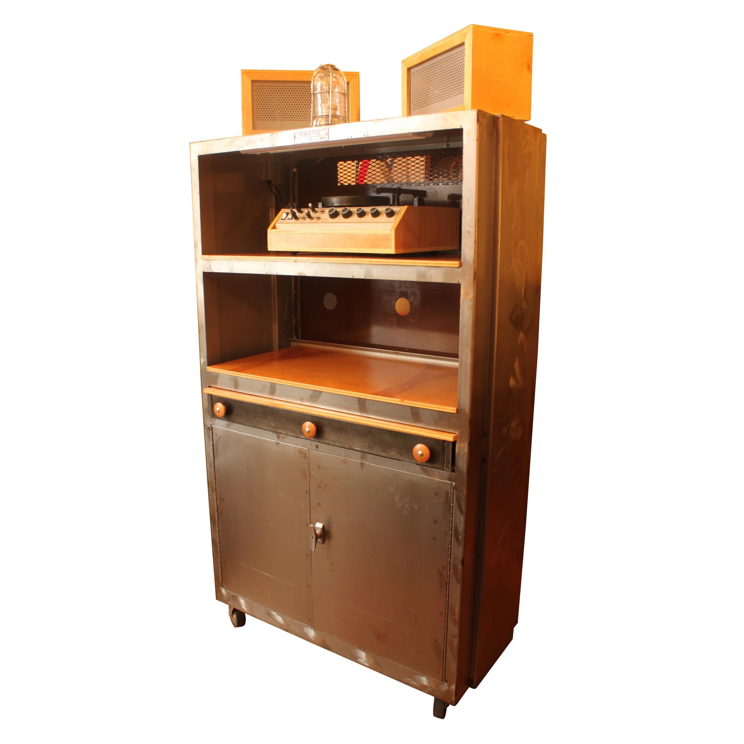 Vintage Machine Shop Cabinet Industrial Bar/Audio Liquor | Modernism