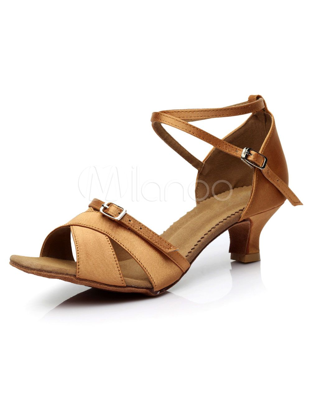 bc87e4f25872 Yellow Latin Dance Sandals Straps Satin Heels for Women