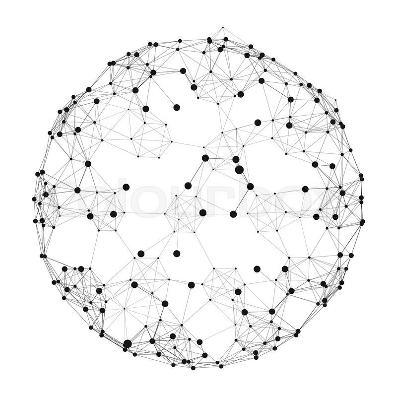 Sphere With Connected Lines And Dots Global Digital Connections Globe Grid Wireframe Sphere Grid Design Globe Vector Abstract