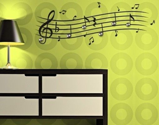 haken wandtattoo noten musik noten garderobe am haken. Black Bedroom Furniture Sets. Home Design Ideas