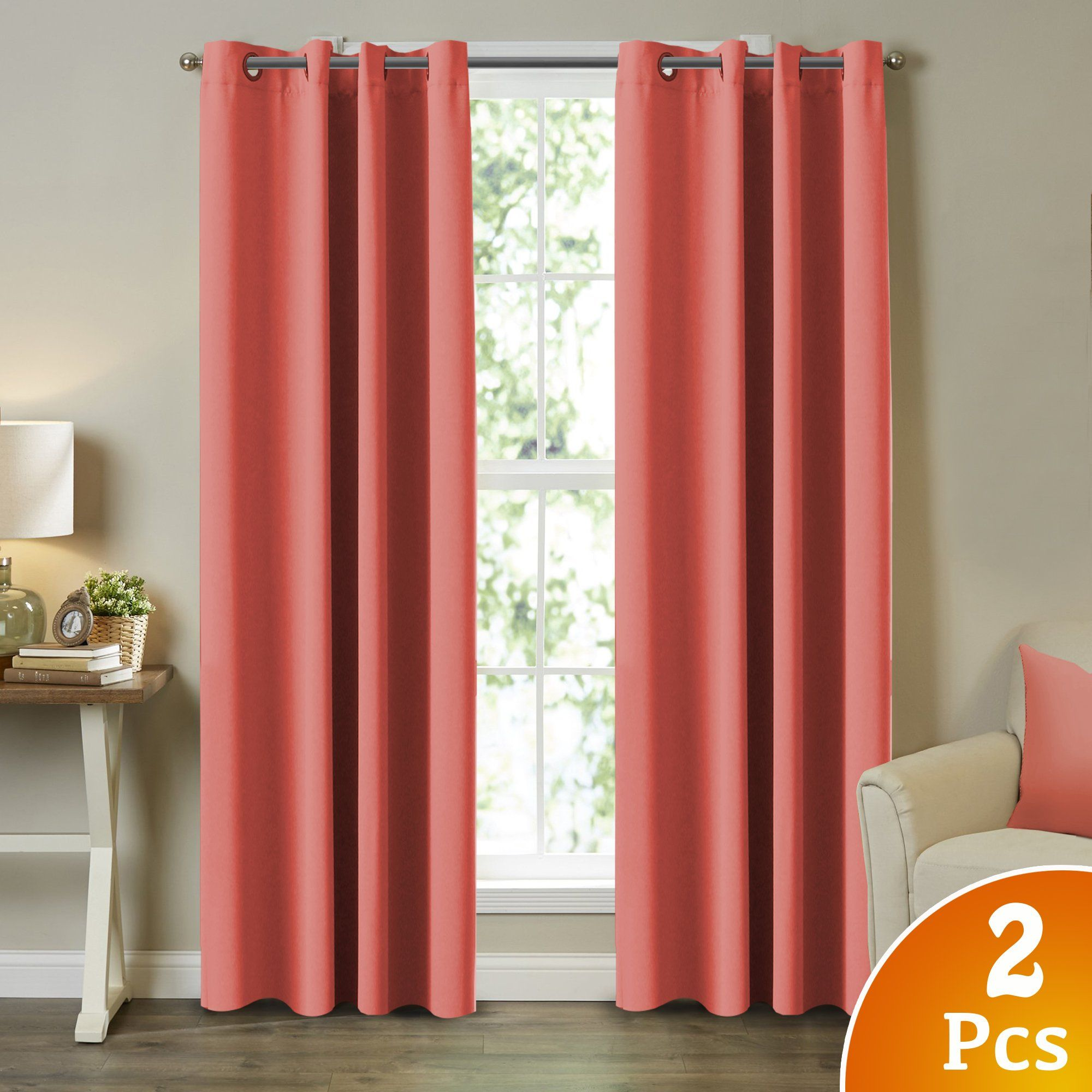 Long window over bed  turquoize coral window treatment blackout curtains thermal insulated