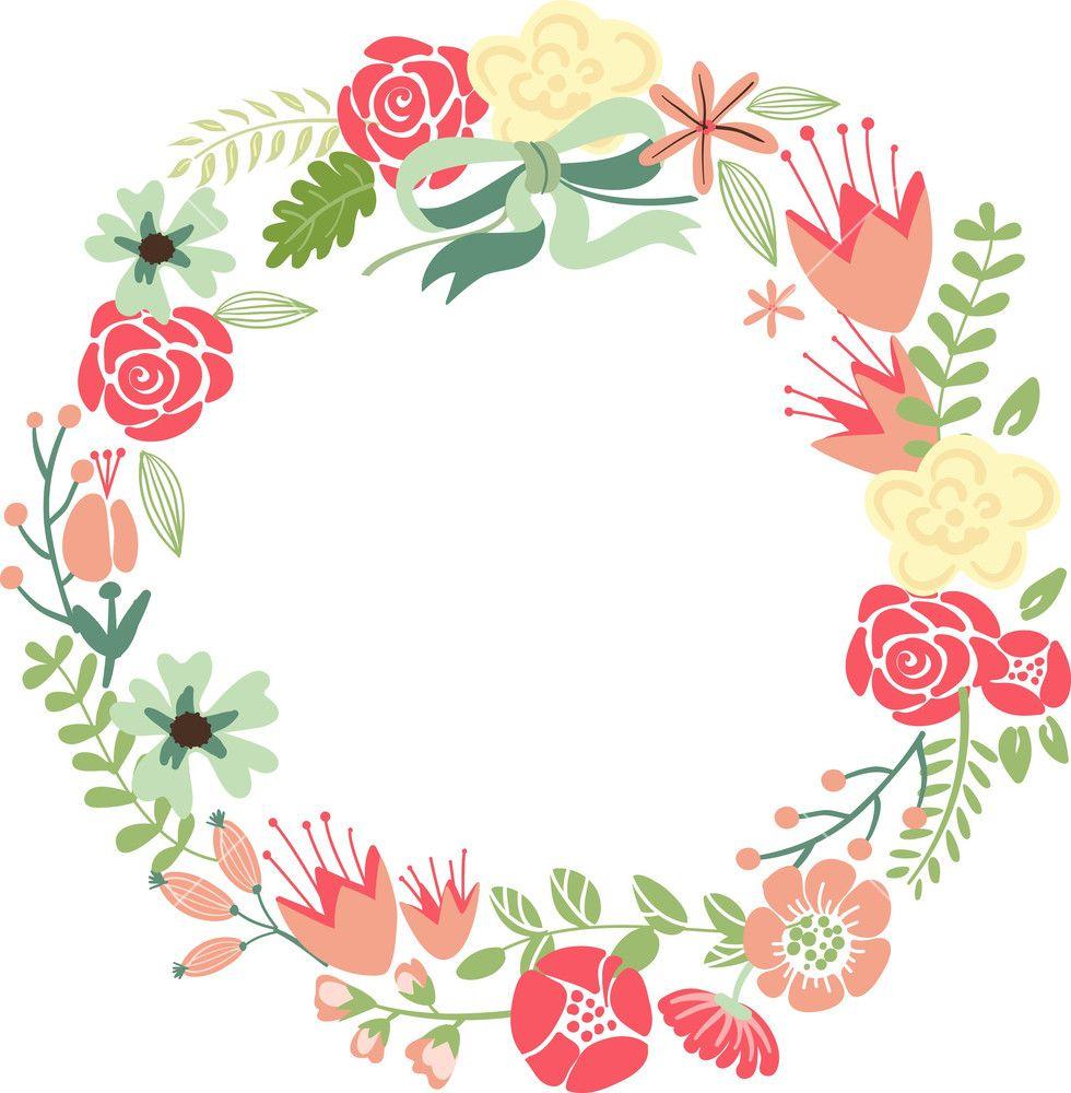 Floral Frame. Cute Retro Flowers Arranged Un A Shape Of
