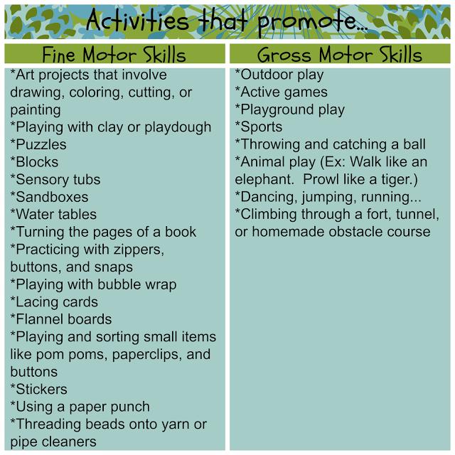 Preschool Activities | Gross motor skills, Preschool activities ...