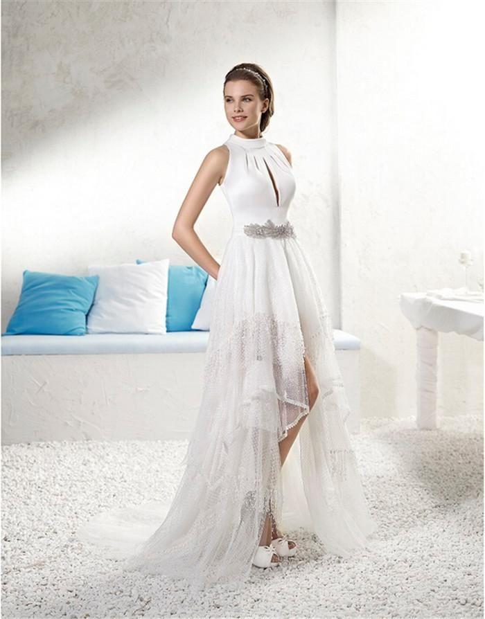 middle east wedding bridal dresses 2015 side split asymmetrical