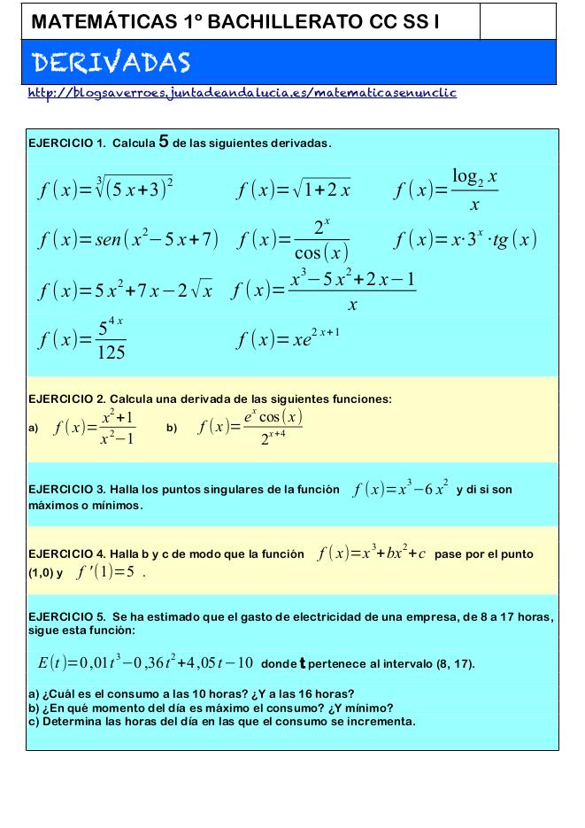Ejercicios De Derivadas Pdf ツ Matemáticas En Un Clic Matemáticas Bachillerato Matematicas Matematica Ejercicios
