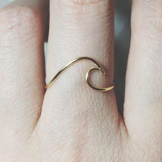 925er Silber Ring-Wave/Gold gefüllt Draht Surf von BeadsLearnToRock ...