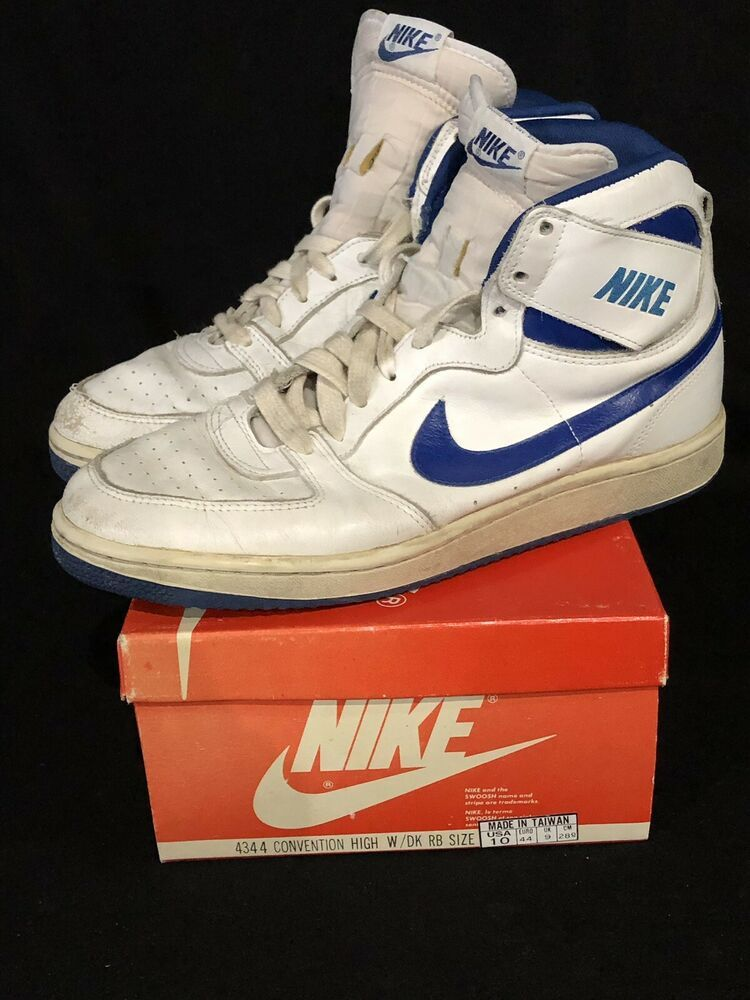 Vintage Nike Convention Shoes High Top Size 10 White Royal Blue W Box Used 80s Nike Basketballshoes Vintage Nike High Top Shoes Nike