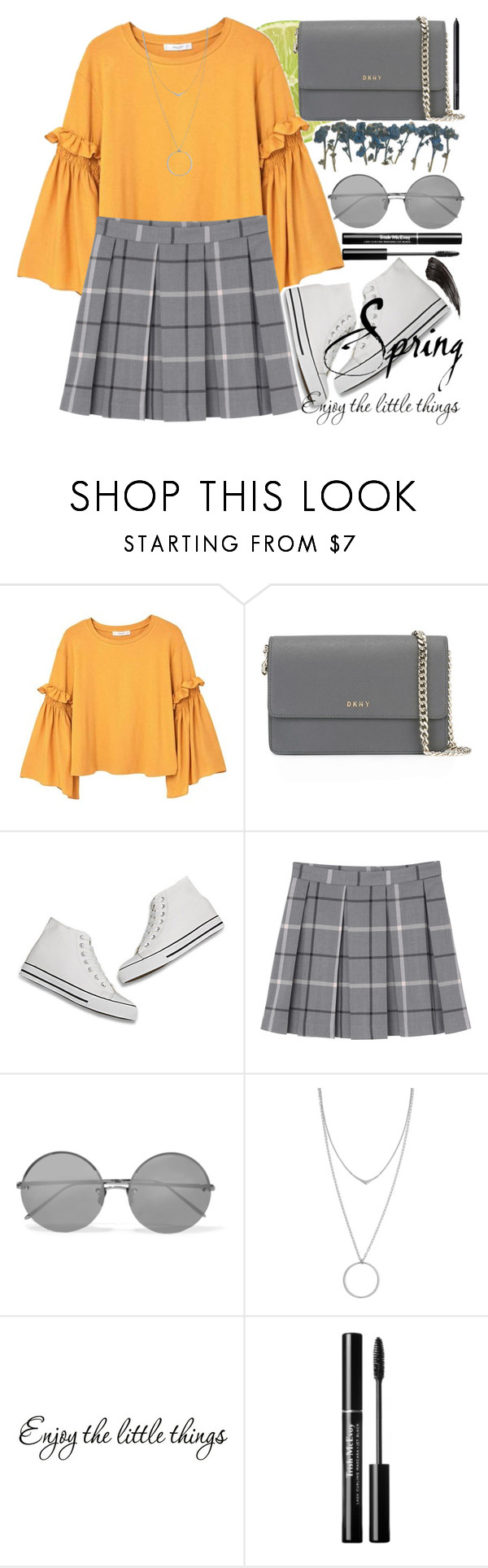 """""""  It wasn't just a dream  """" by lia-adln ❤ liked on Polyvore featuring MANGO, DKNY, Monki, Linda Farrow, Botkier, WALL and NARS Cosmetics"""