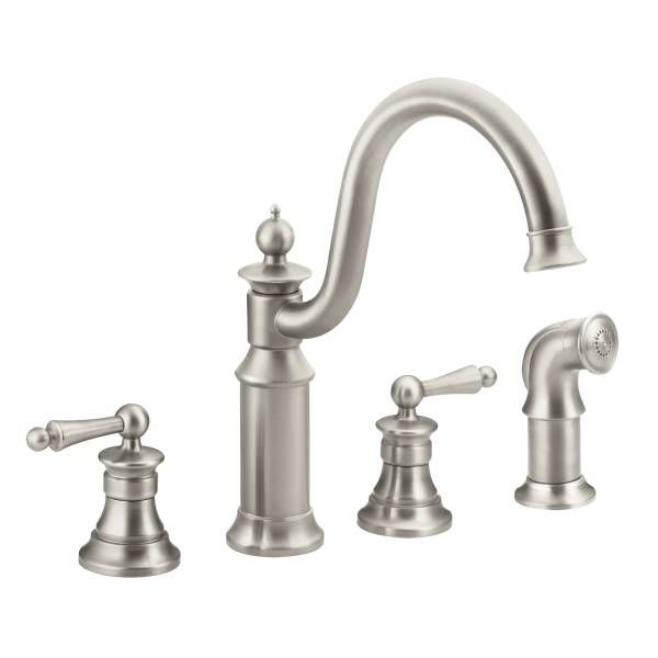 Moen High Arc Kitchen Faucet With Side Spray From The Waterhill Collection  Spot Resist Stainless Faucet Kitchen Double Handle