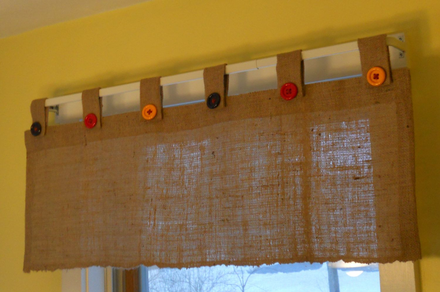 Burlap Button Tab Valance By Craftyamour On Etsy 30 00 Tab Curtains Window Toppers Valance