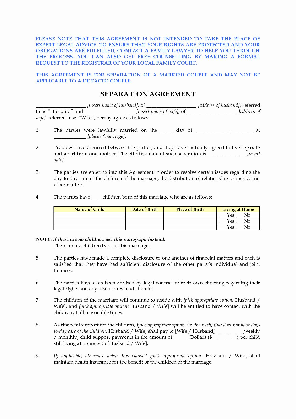 Divorce Agreement Template Free Unique Best S Of Free Marital Separation Agreement Forms Separation Agreement Template Separation Agreement Legal Separation