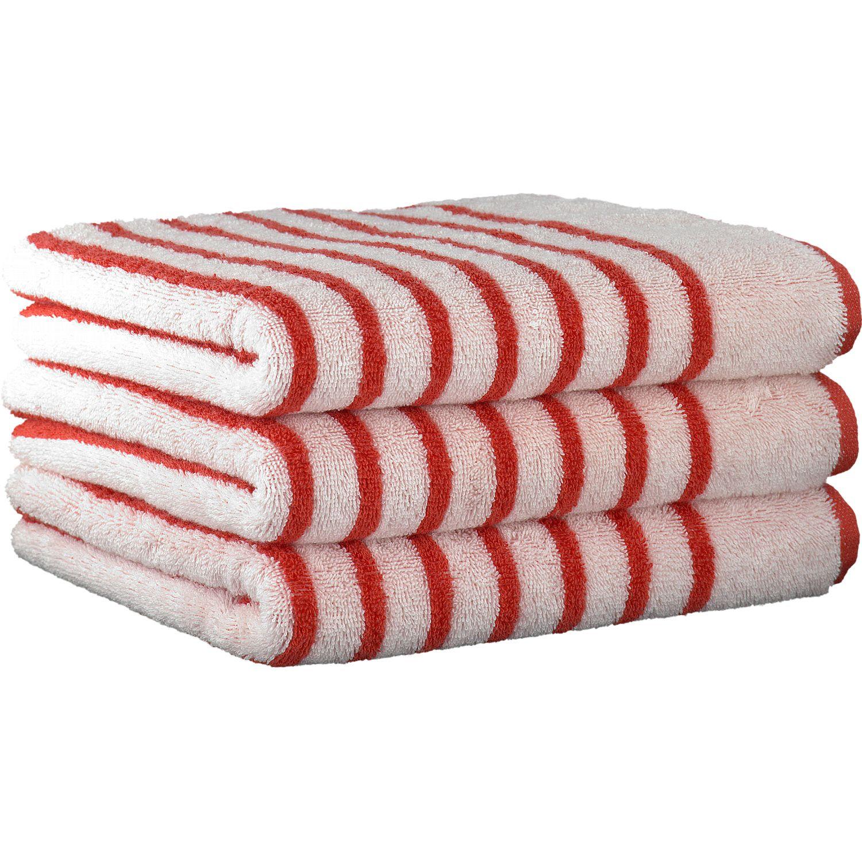 Cawö Handtücher Breton Streifen breit rot - 26