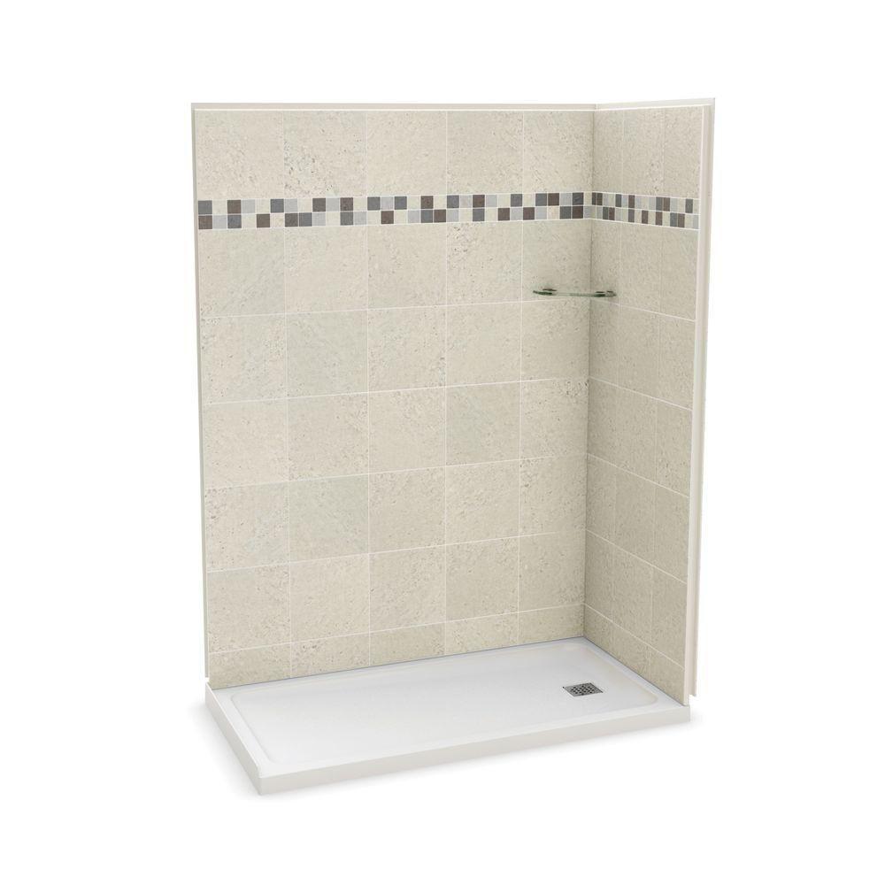 Utile 32 Inch X 60 Inch Corner Shower Stall In Stone Sahara
