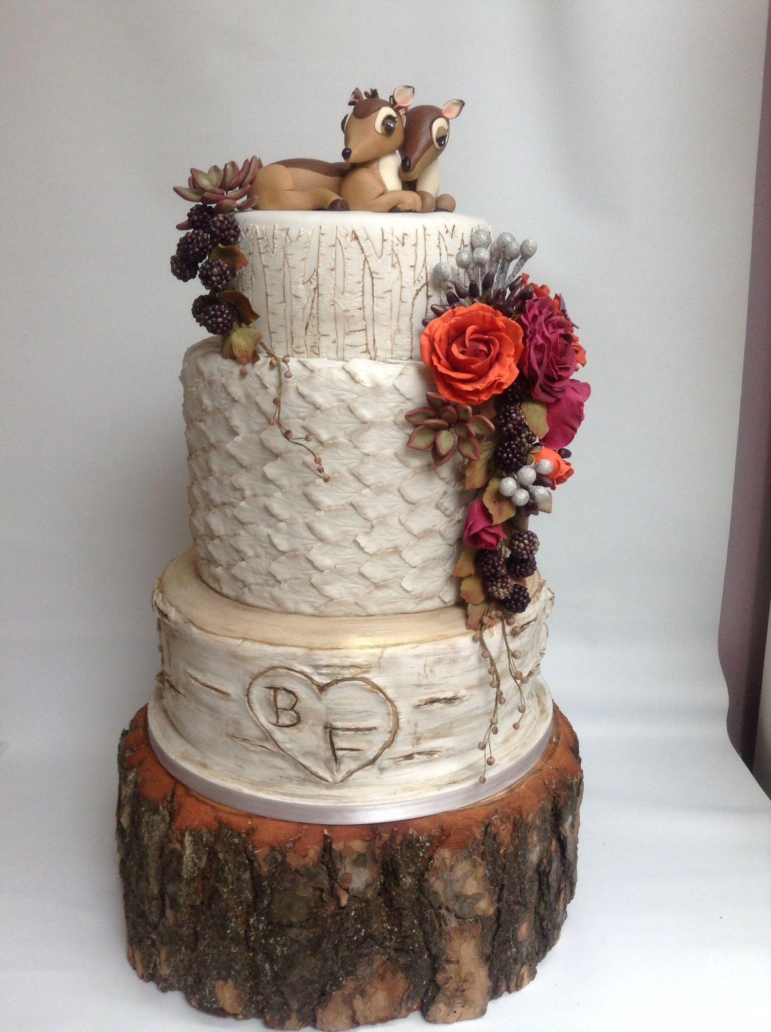 Autumn Woodland Birch Tree Wedding Cake Deer Bambi Topper