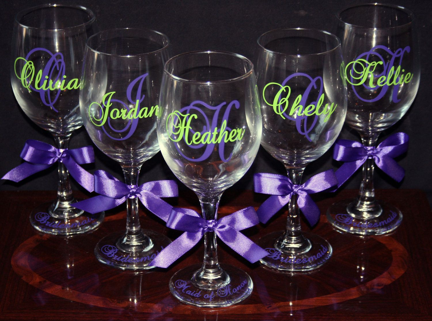 7 personalized bride and bridesmaid wine glasses   70 00  via etsy