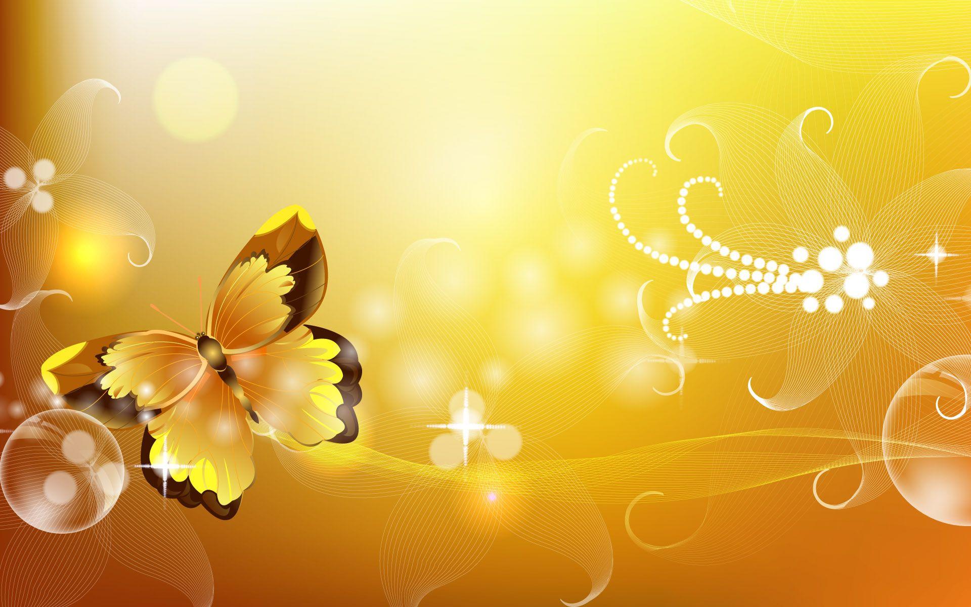 3d Butterfly Background Hd Wallpaper Vector Wallpaper Yellow Artwork