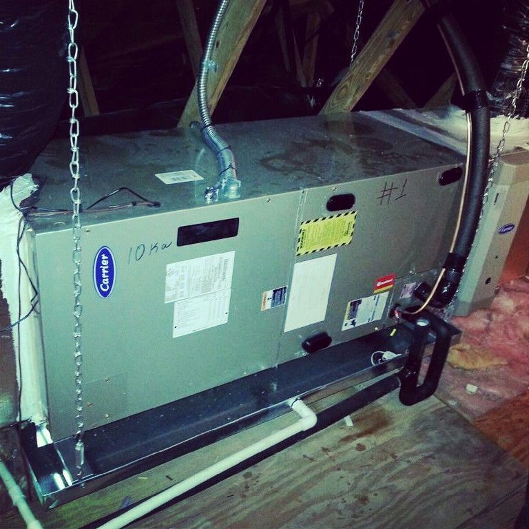Carrier variable speed air handler hanging in the attic