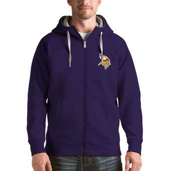 Men's Minnesota Vikings Antigua Purple Victory Full-Zip Hoodie