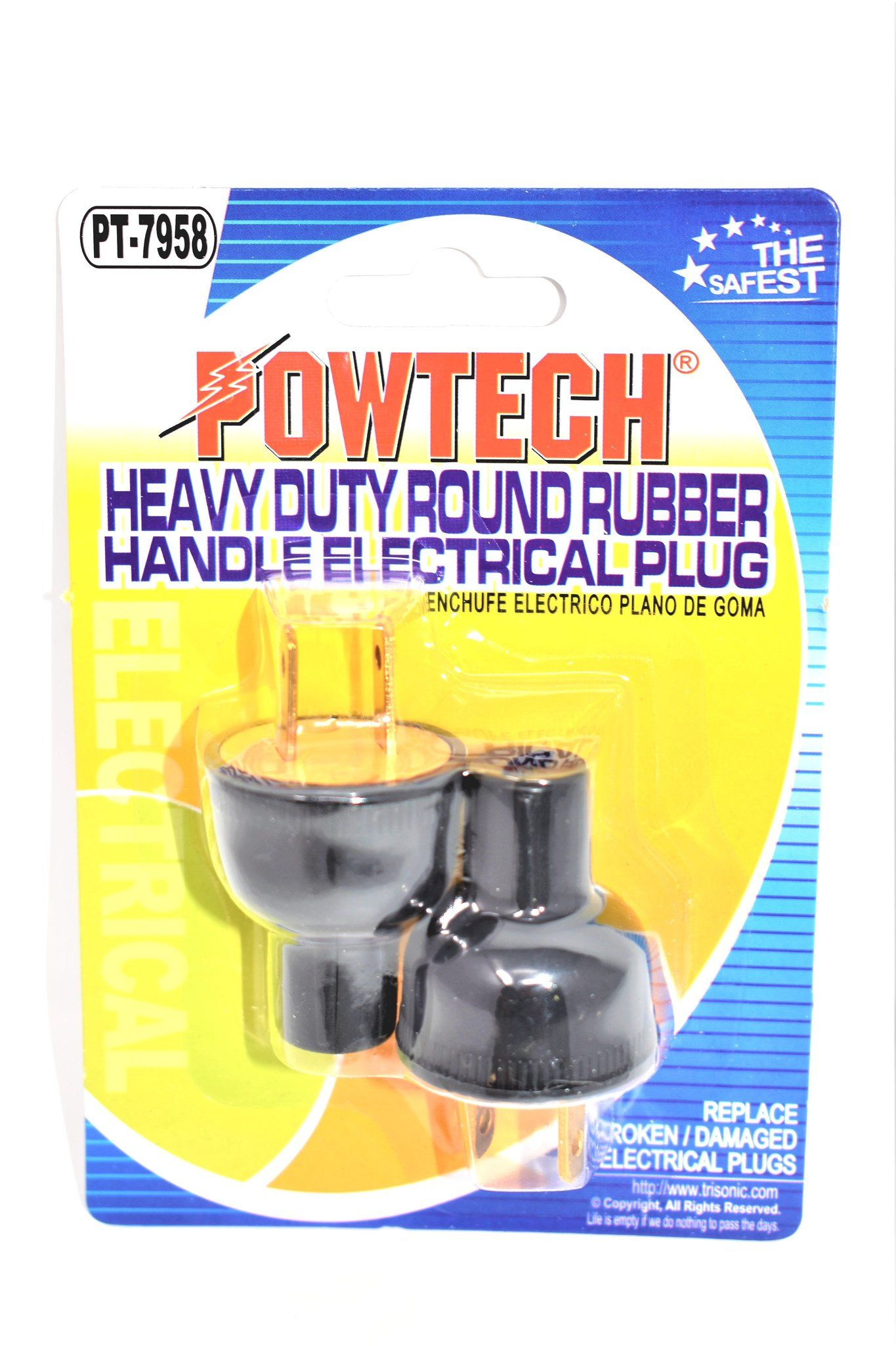 Heavy Duty Round Rubber Handle Electrical Plug 2 Ct Plugs Electricity Heavy Duty
