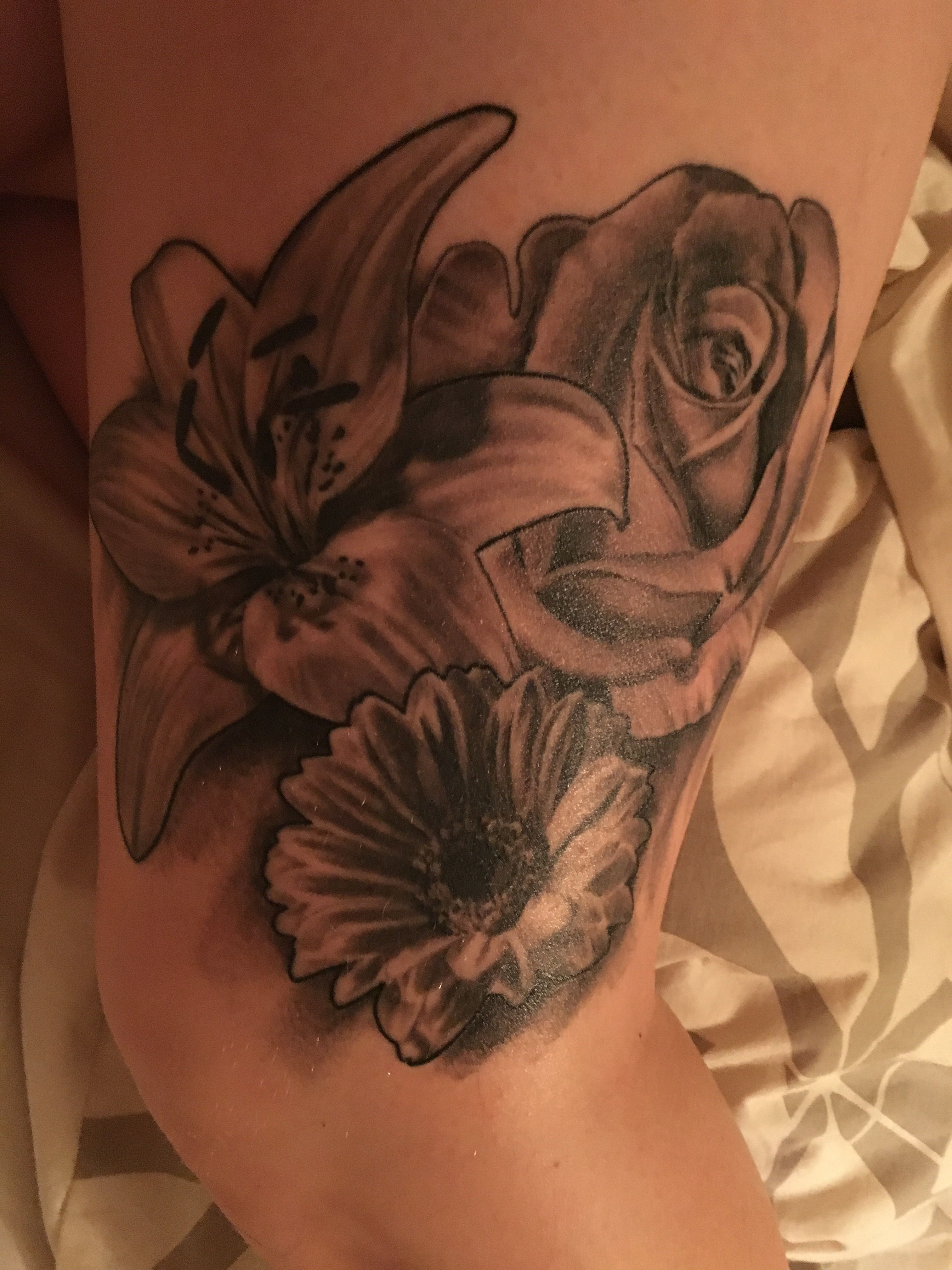 Rose lily gerbera tattoo black and white tattoo pinterest rose lily gerbera tattoo black and white izmirmasajfo