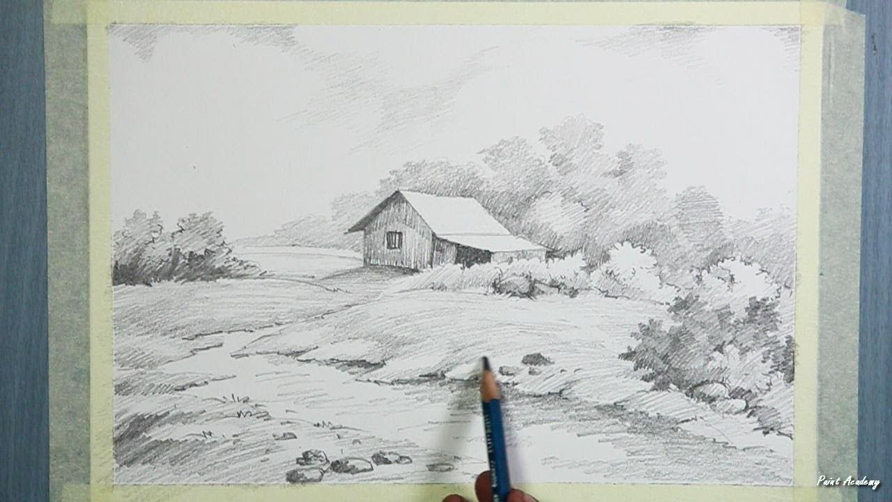 House Landscape Drawing with Graphite Pencil | step by ...