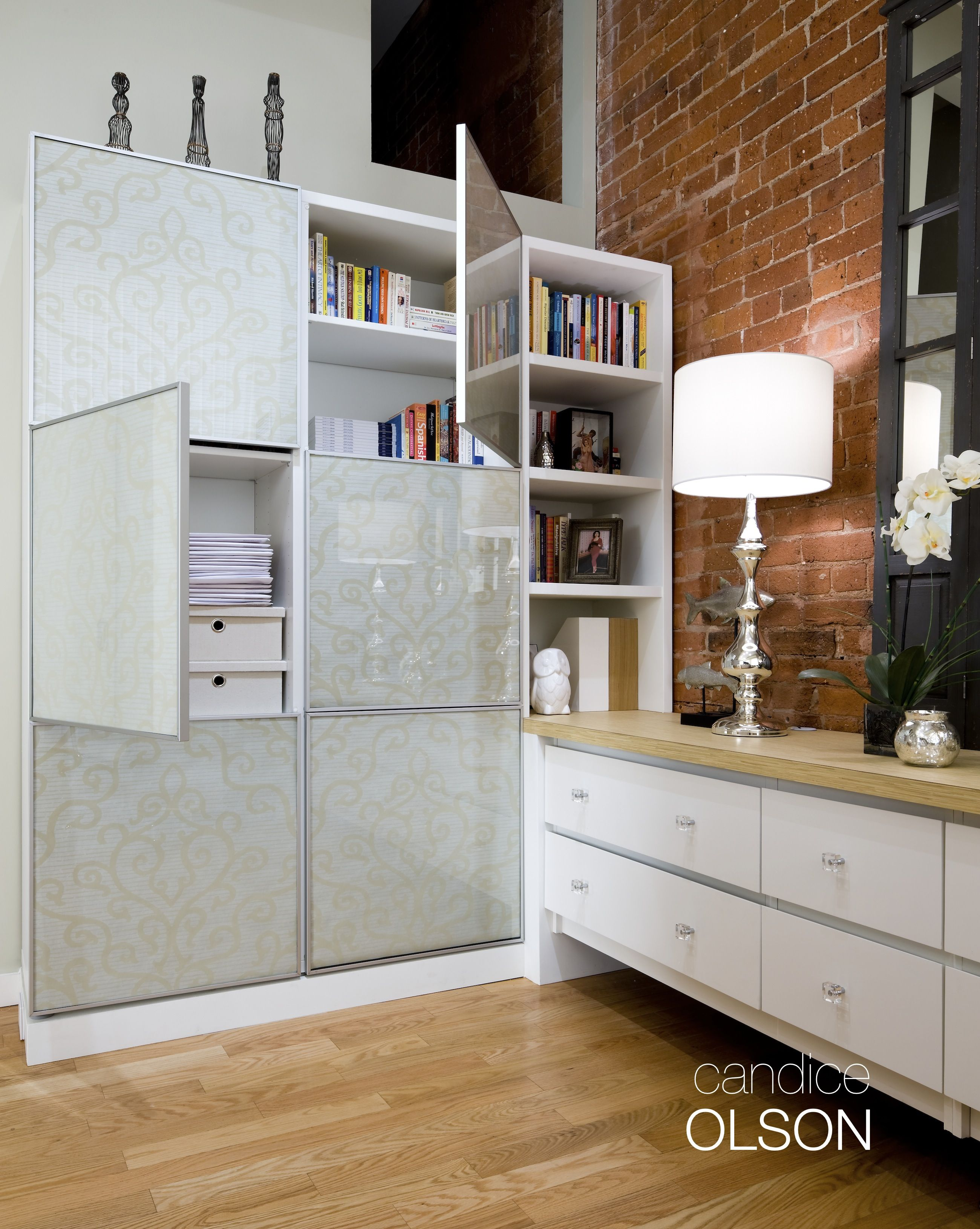 LOFT OFFICE 3: Functional and beautiful- this storage unit is sleek, requiring a small footprint while offering ample floor to ceiling storage. #candiceolson