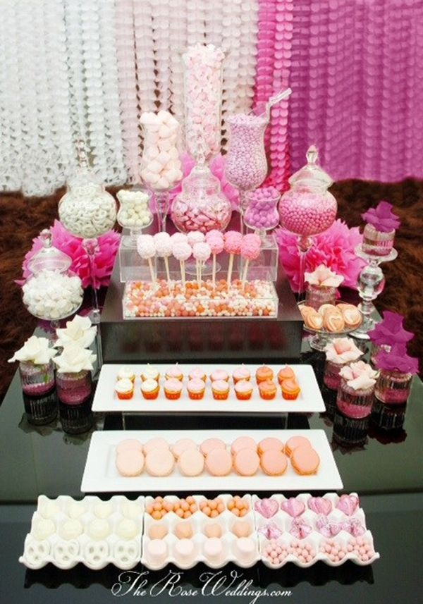 wedding shower candy buffet ideas%0A Baby Shower Table Decorations   Ombre Theme Wedding Shower or Baby Shower  Sweets Table