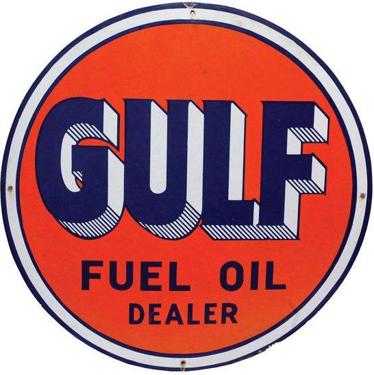 Gulf Fuel Oil Dealer Porcelain Sign