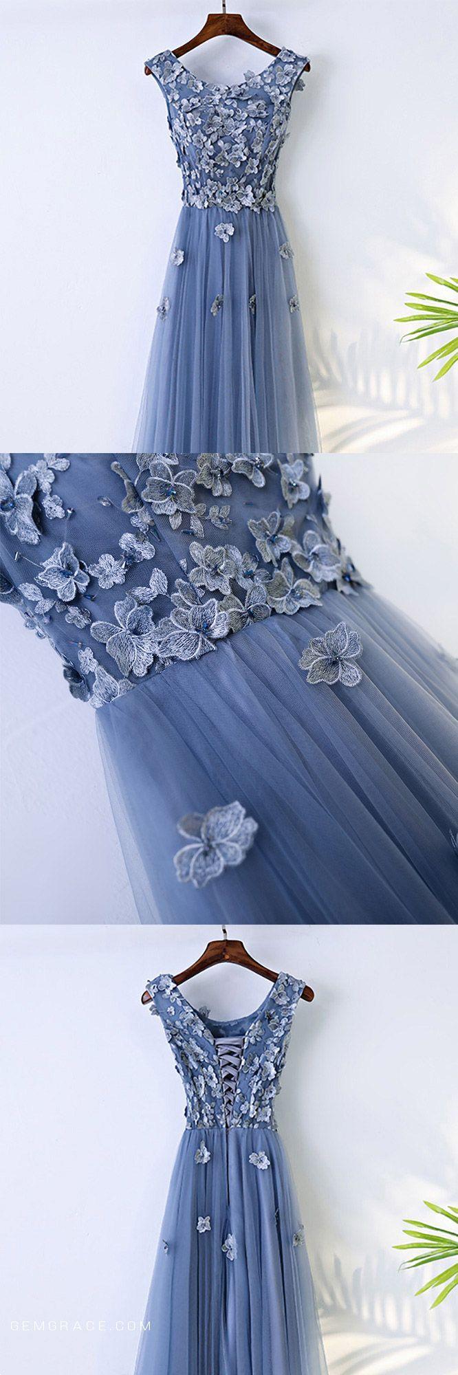 Trendy dusty blue flowy prom dress long with flower petals myx