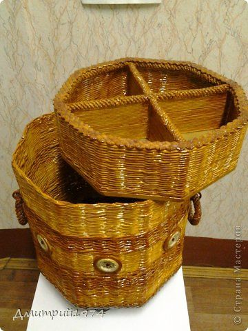 Поделка изделие Плетение Коробушка Трубочки бумажные фото ...