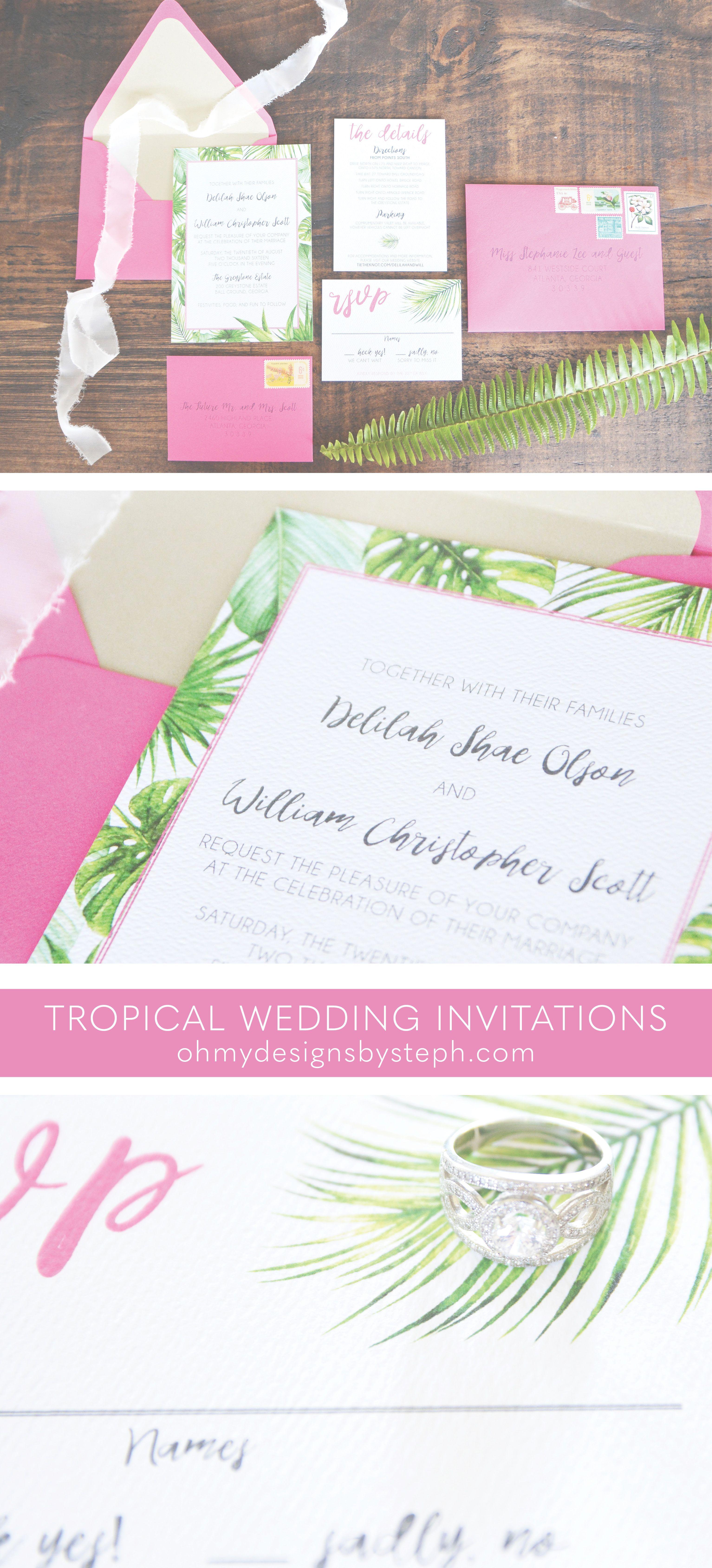 Tropical Wedding Invitation | Hot Pink Fiesta Wedding Invitations ...
