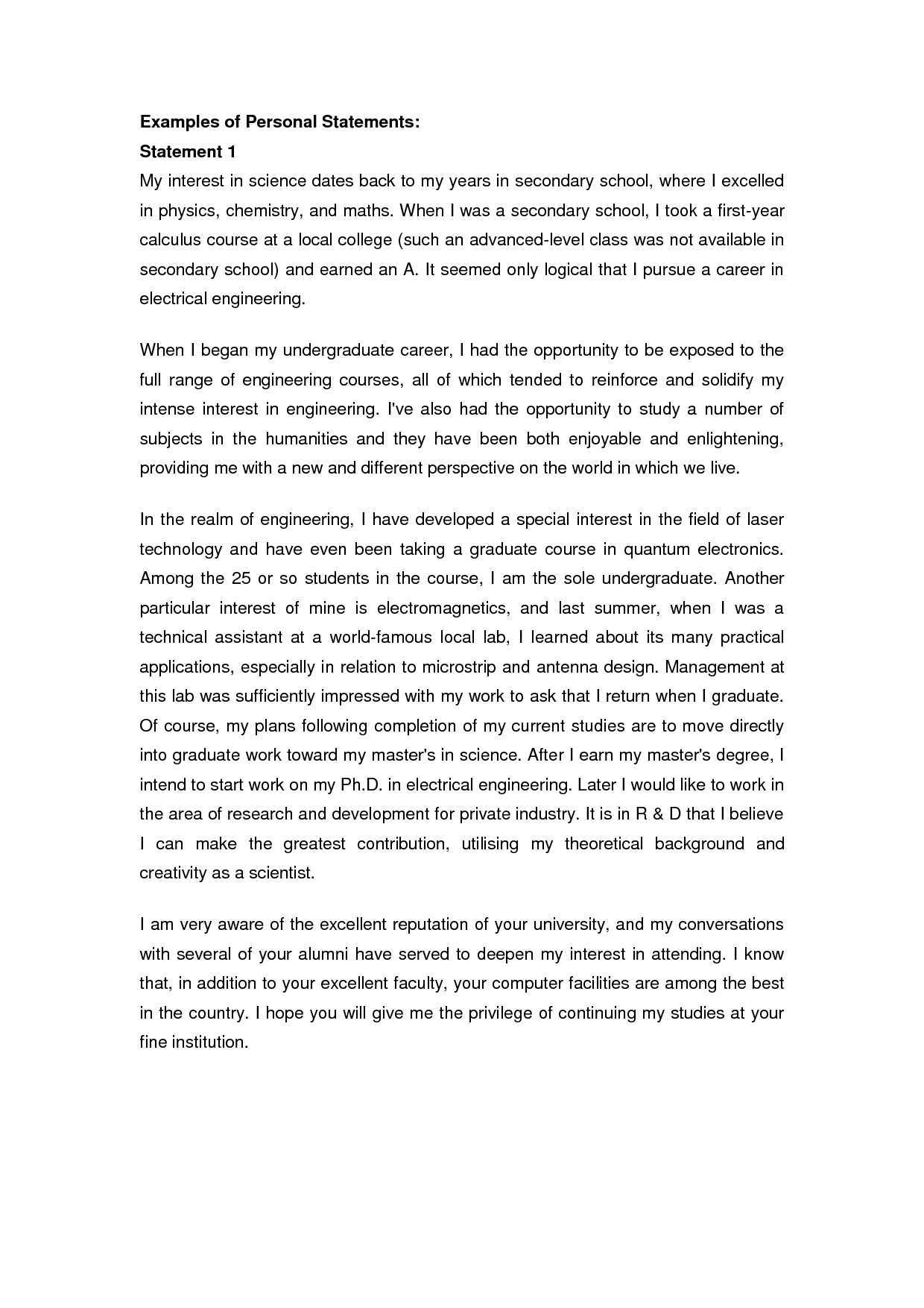 college essay personal statement examples - University Entrance Essay Examples