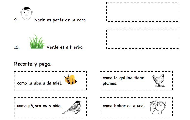 Printable Spanish Activity For Kids Simple Analogies Spanish
